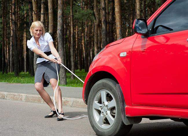 woman self towing